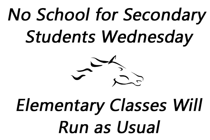 School Closed for High School Students Wednesday - Elementary Classes Will Run As Usual