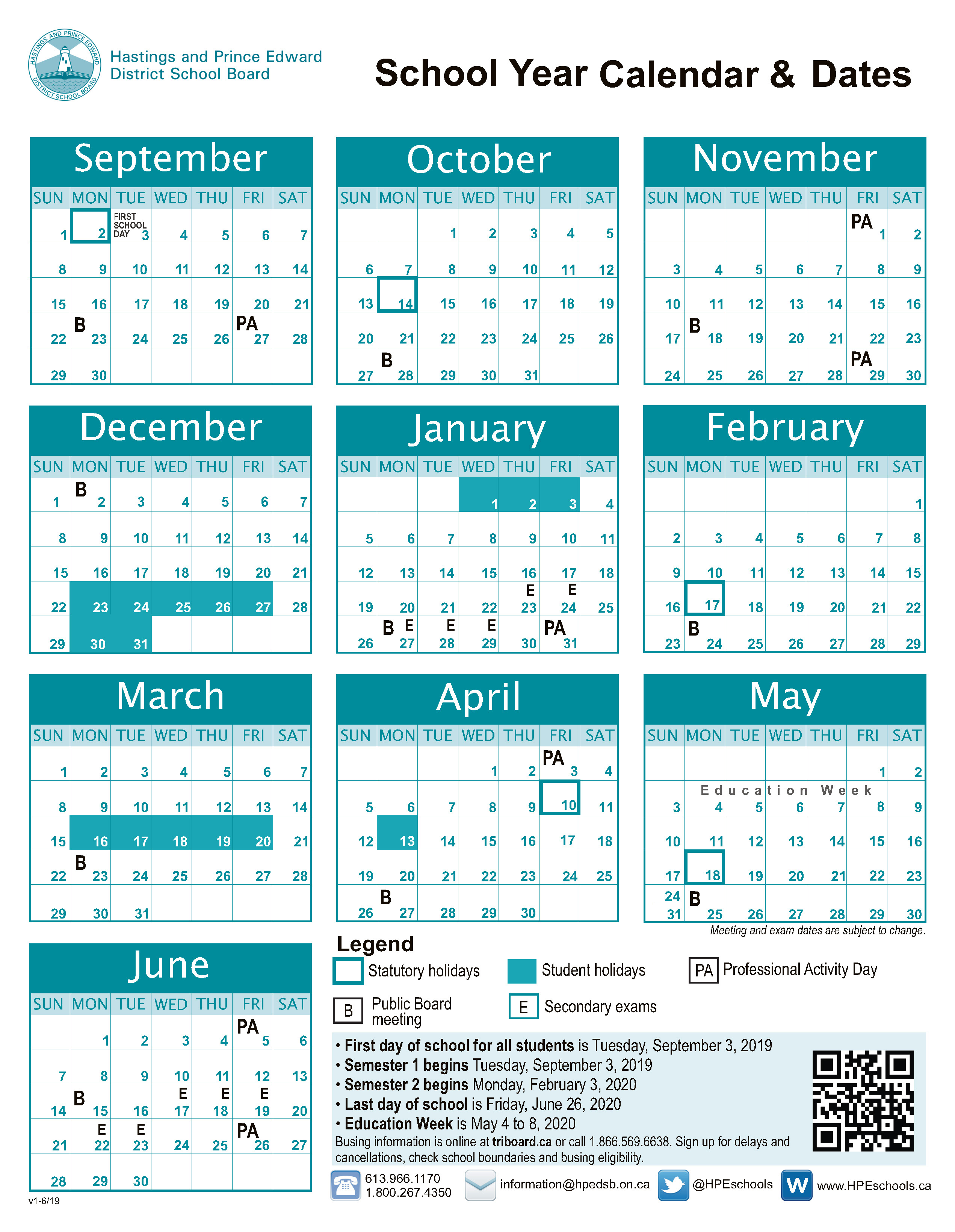 School Year Calendar and Dates