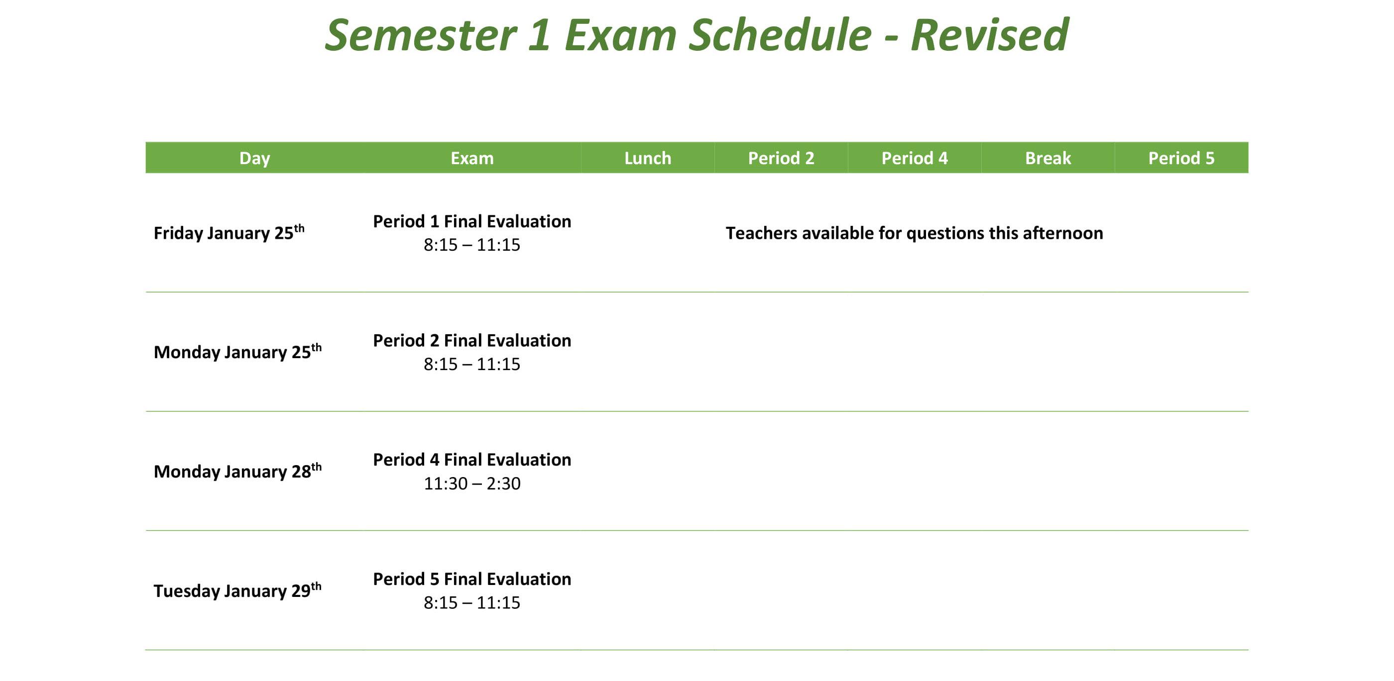 Semester 1 Exam Schedule Revised 4 1