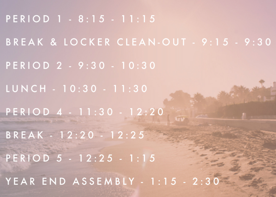 Year End Assembly Timetable