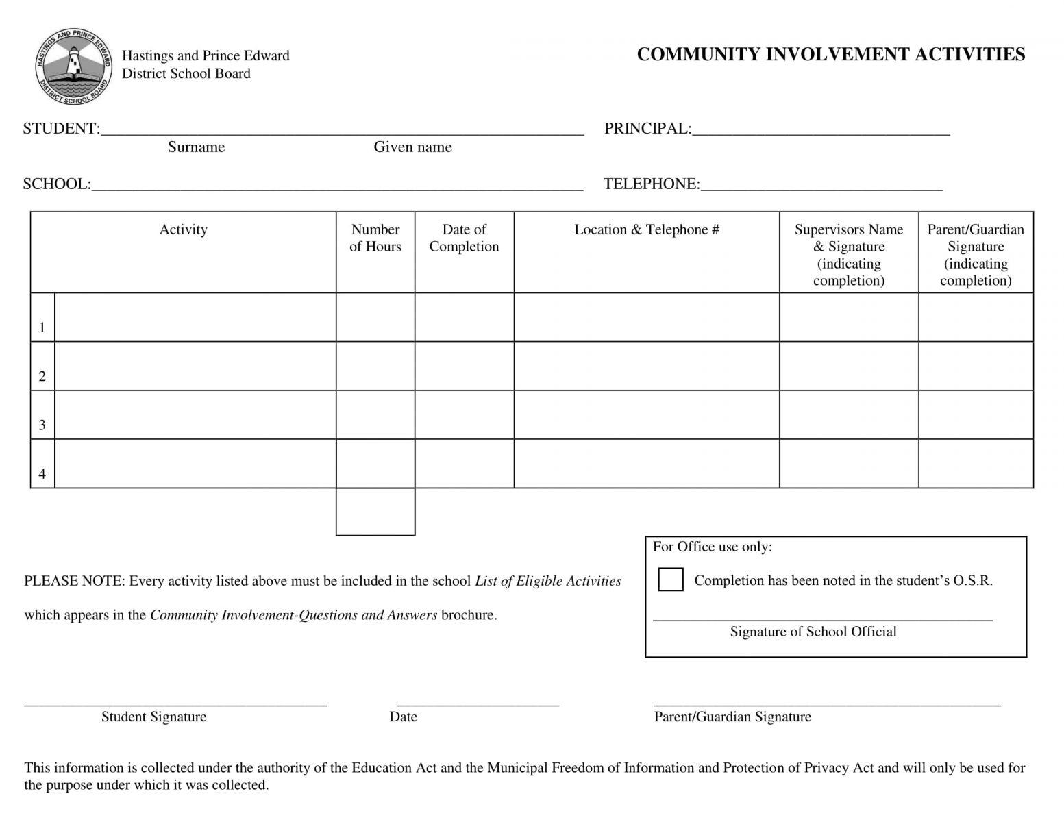 Community Hours Tracking Sheet
