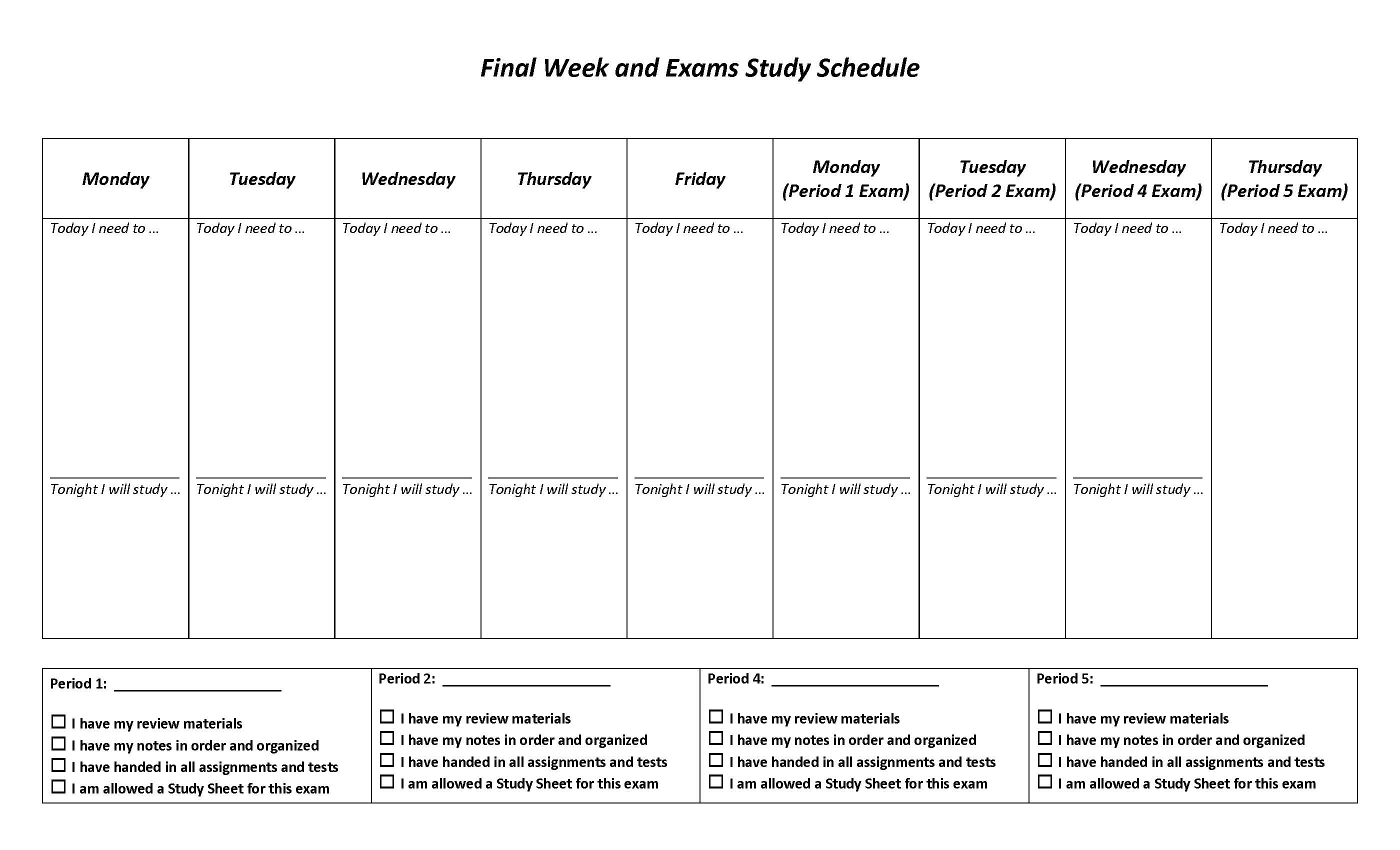 Final Week Review Student Edition Filliable v2