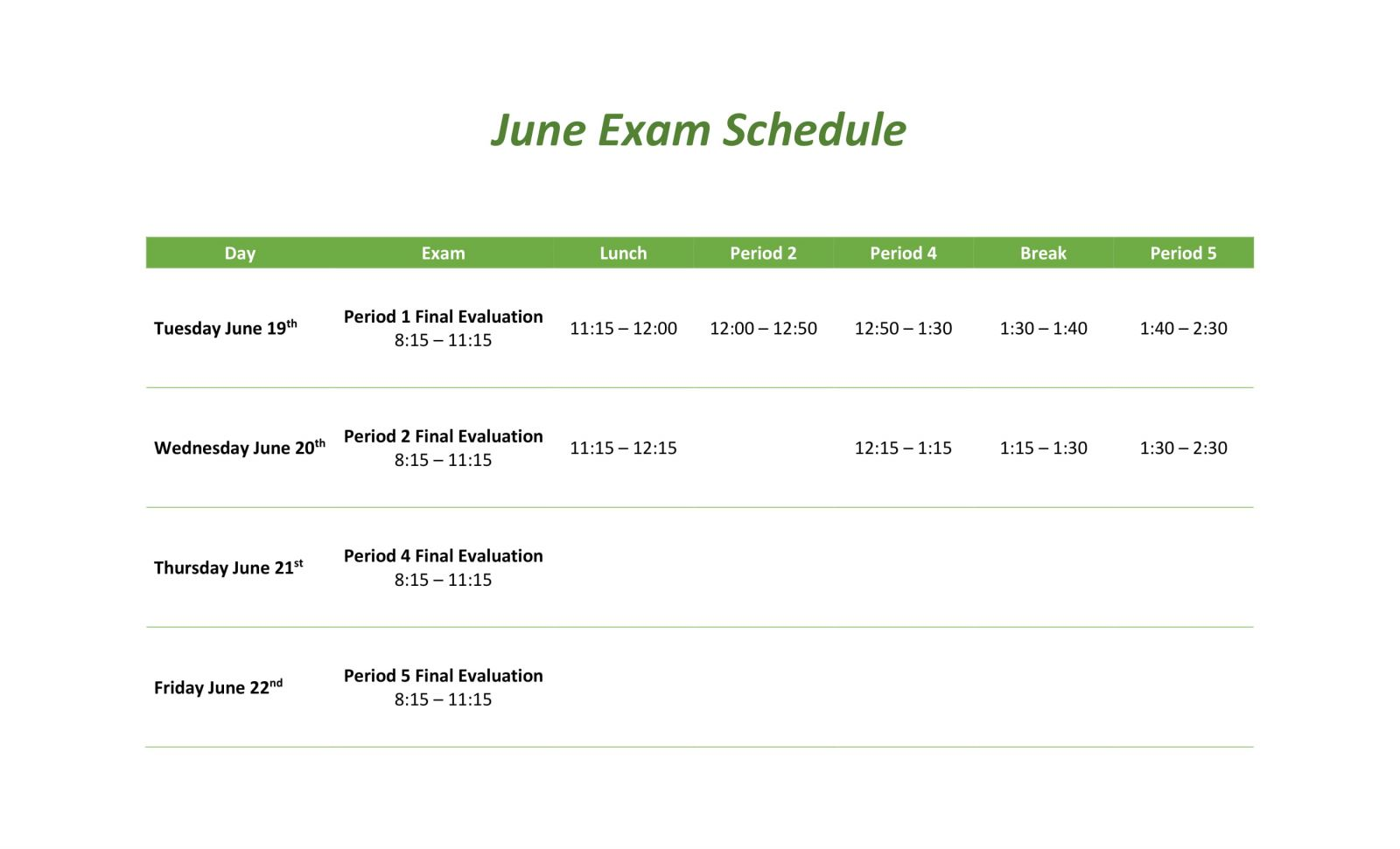 June Exam Schedule