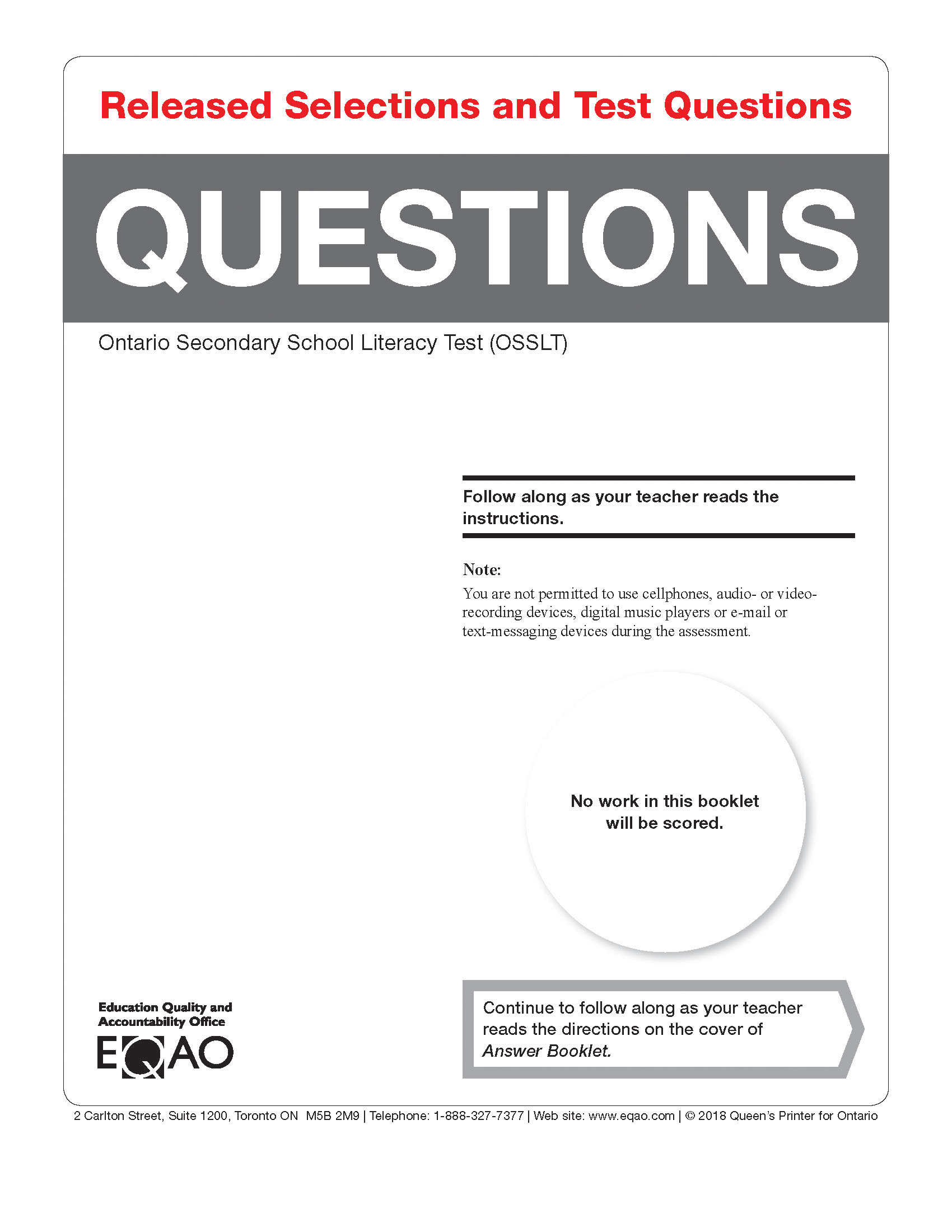 OSSLT Released Questions